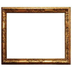 18th Century Venetian Hand Carved Gilt Wood Frame