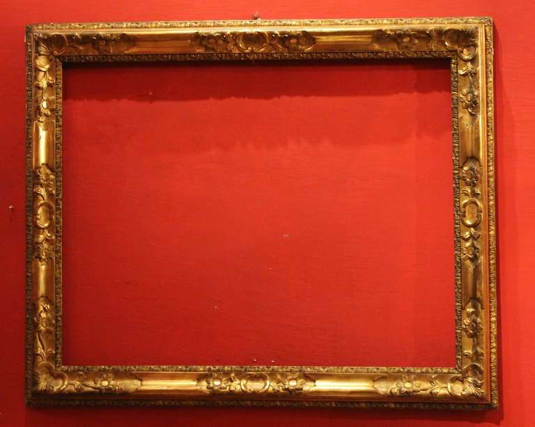 Rococo 18th Century Venetian Hand Carved Gilt Wood Frame For Sale