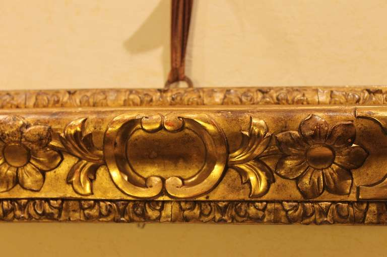 18th Century and Earlier 18th Century Venetian Hand Carved Gilt Wood Frame For Sale