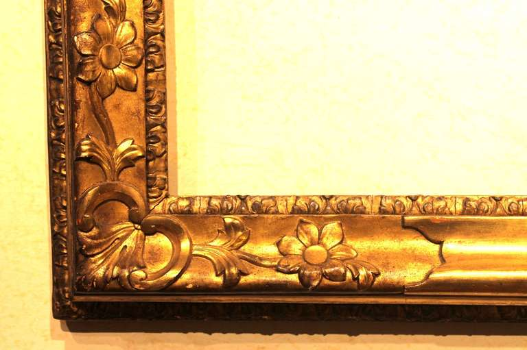 Gold Leaf 18th Century Venetian Hand Carved Gilt Wood Frame For Sale