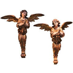 An Italian Wooden Pair Of Angels