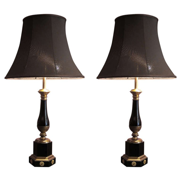 Pair of French Empire Style 19th Century Lacquered and Gilt Bronze Table Lamps For Sale