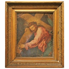 Ferraù Fenzoni School, 16th century Oil on Copper Christ Carring the Cross