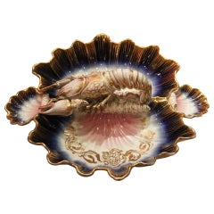 French 19th Century Porcelain Lobster Centerpiece  or Hors-D'oeuvre Dish