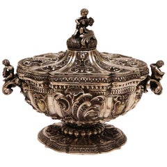 A 19th Century Baroque Style Italian Silver Centerpiece Bowl or Soup Tureen