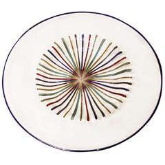 Lino Tagliapietra Multicolored Murano Glass Round Disk Sculpture, 1980s