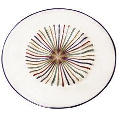 Lino Tagliapietra Multicolored Murano Glass Round Disk Plate Sculpture, 1980s