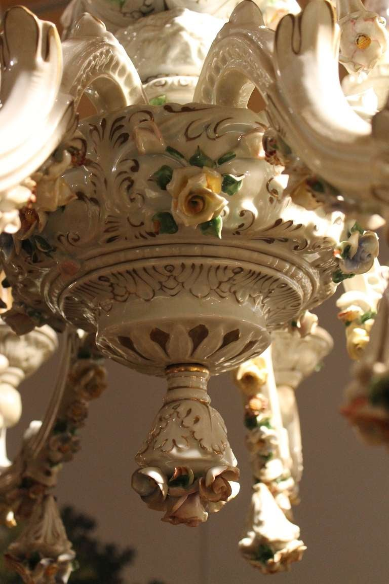 Capodimonte porcelain twelve lights chandelier with putti and capodimonte porcelain twelve lights chandelier with putti and floral patterns 3 arubaitofo Images