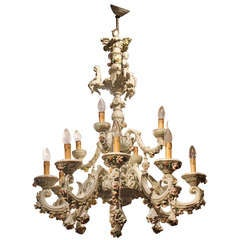 Capodimonte Porcelain 12 Lights Chandelier with Putti and Floral Patterns