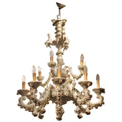 Italian 19th Century Two-Tiers Capodimonte Porcelain Chandelier with Roses