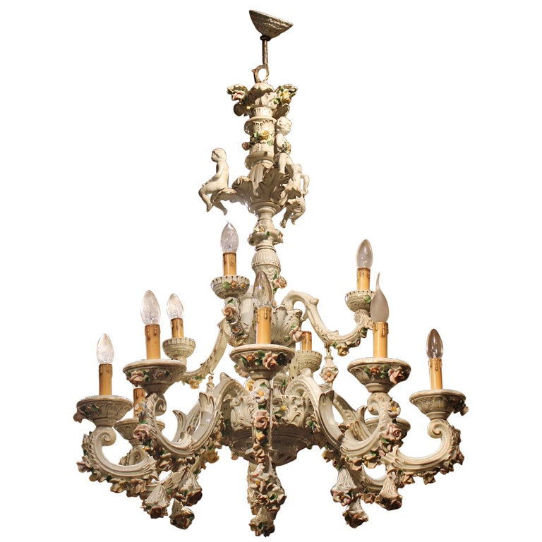 Italian 19th Century Two-Tiers Capodimonte Porcelain Chandelier with Roses For Sale