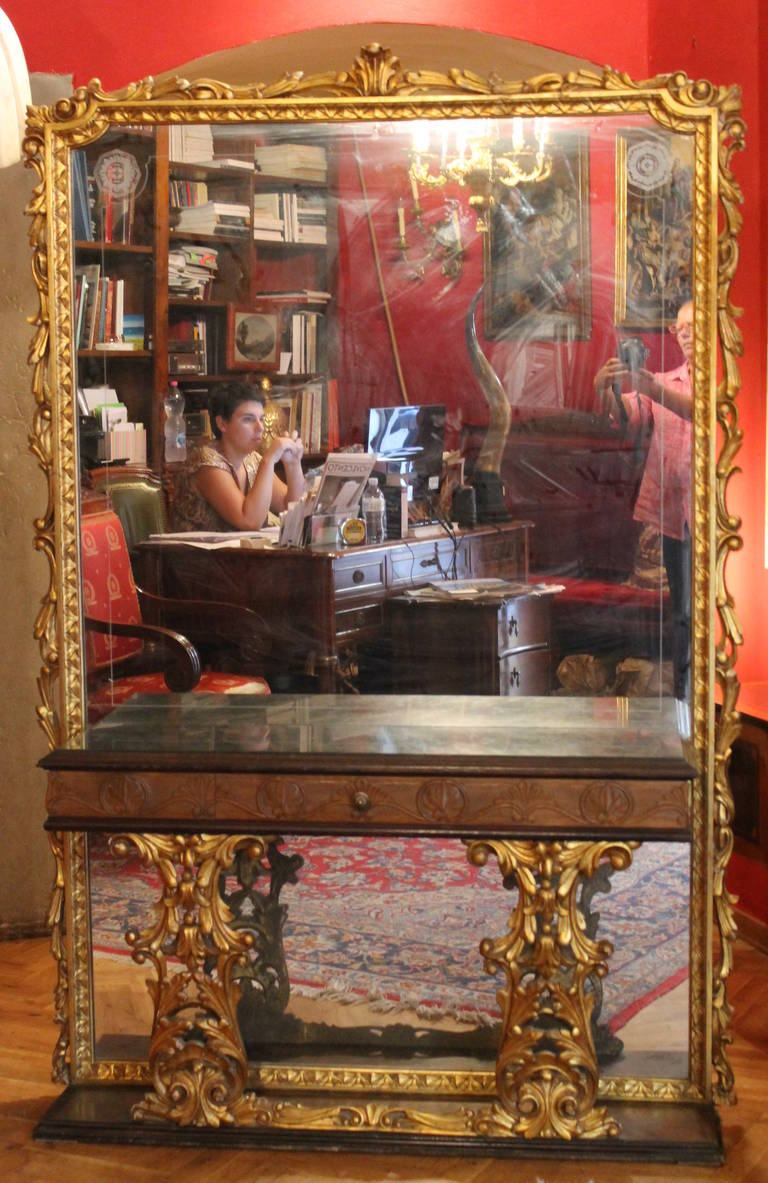 Italian Console Table with Mirror and Marble Top 2