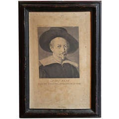 17th Century Italian Engravings of Two Painter's Portraits in Black Frame