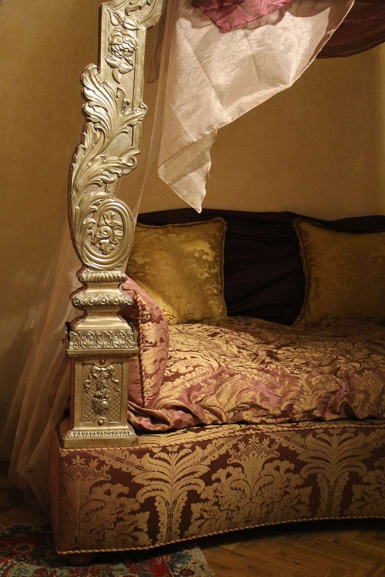 Stunning Silver and Upholstered Canopy Bed 4
