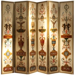 19th Century Italian Six-Panel Painted Wood Folding Screen in Gilt Bronze Frame