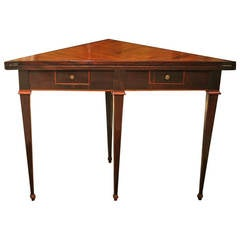 Louis XVI Tuscan Mahogany and Walnut Wood Two Drawers Center Fold Over Table