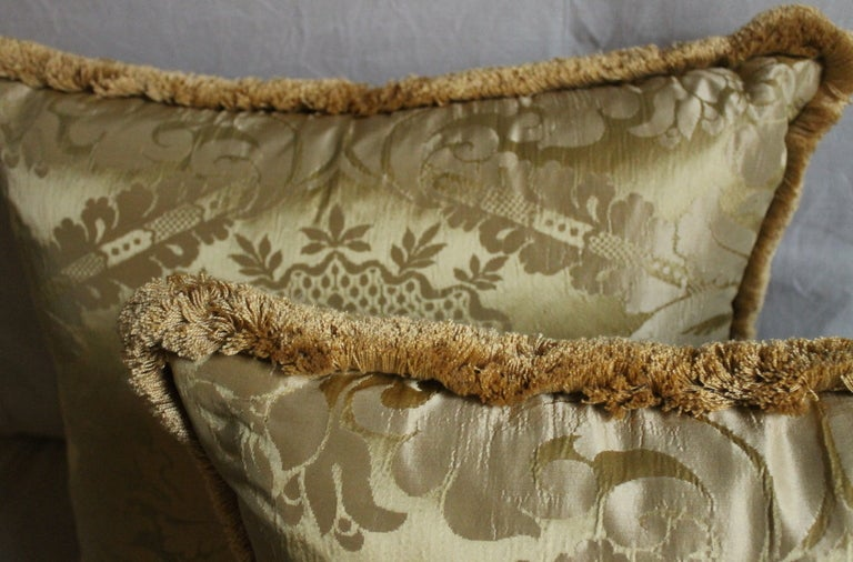 Woven Vintage Italian Damask Silk Pillows For Sale
