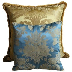 Vintage Italian Damask Silk Pillows