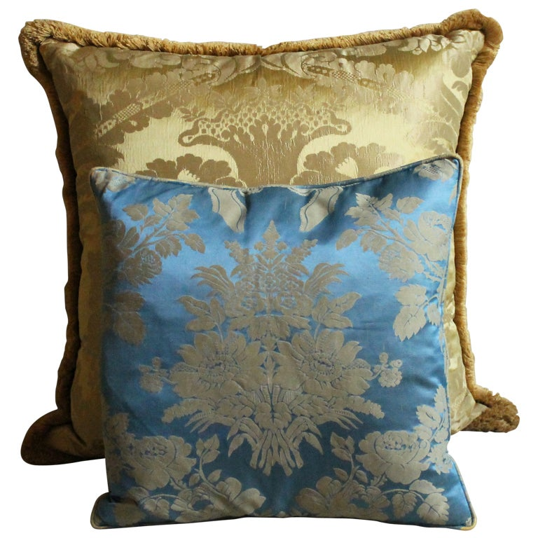 Vintage Italian Damask Silk Pillows For Sale