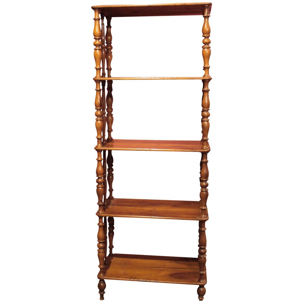 Italian 19th Century Walnut Wood Étagère or Bookcase 1