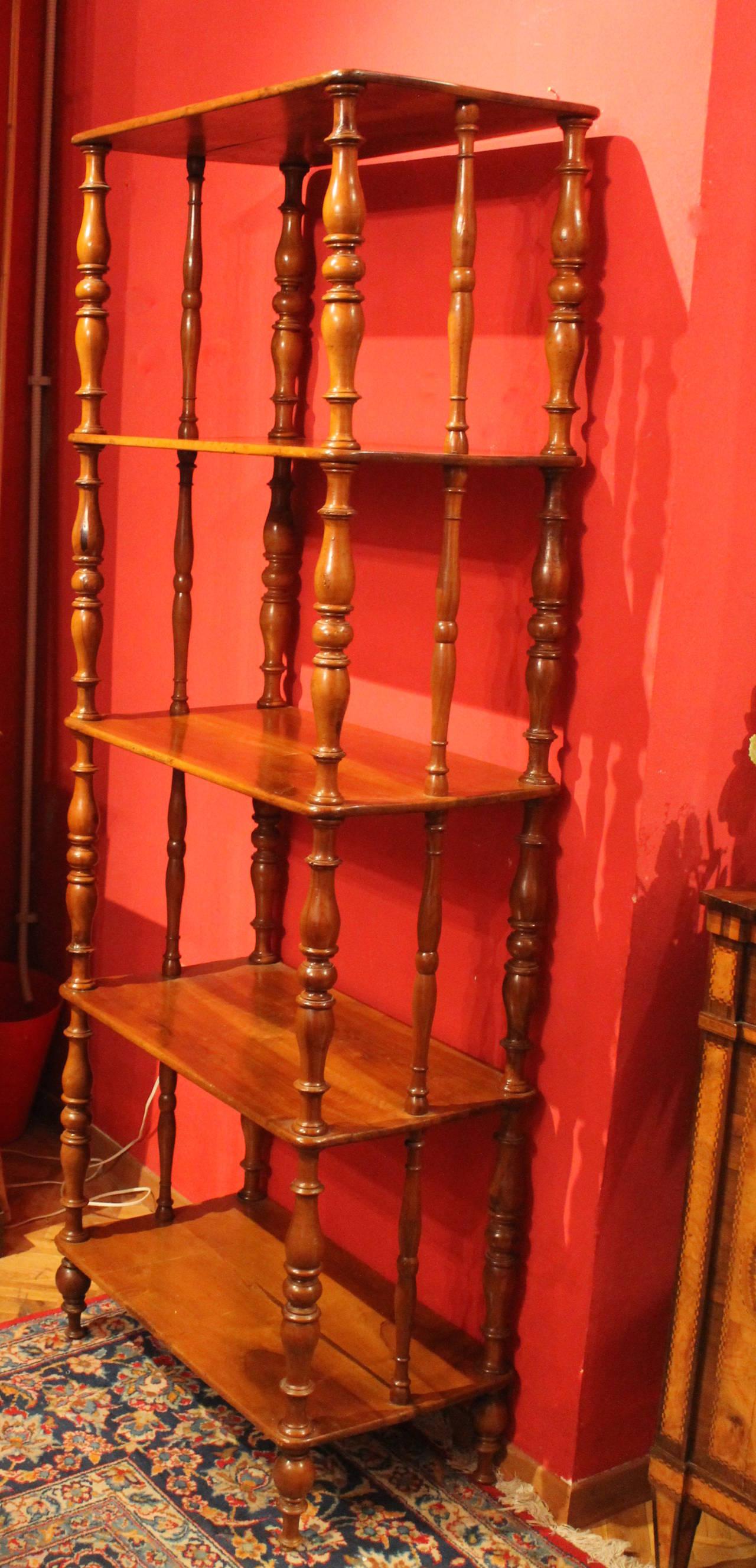 Italian 19th Century Walnut Wood Étagère or Bookcase 2