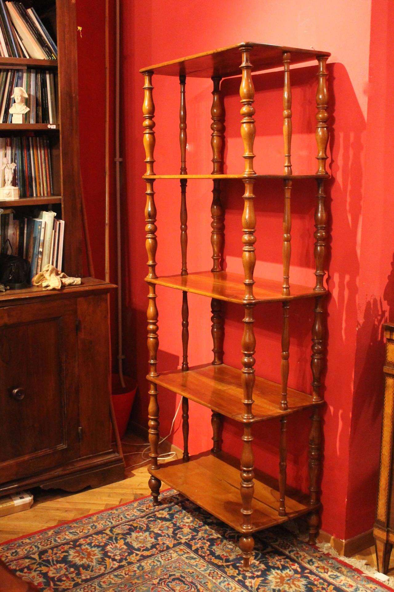 Italian 19th Century Walnut Wood Étagère or Bookcase 3