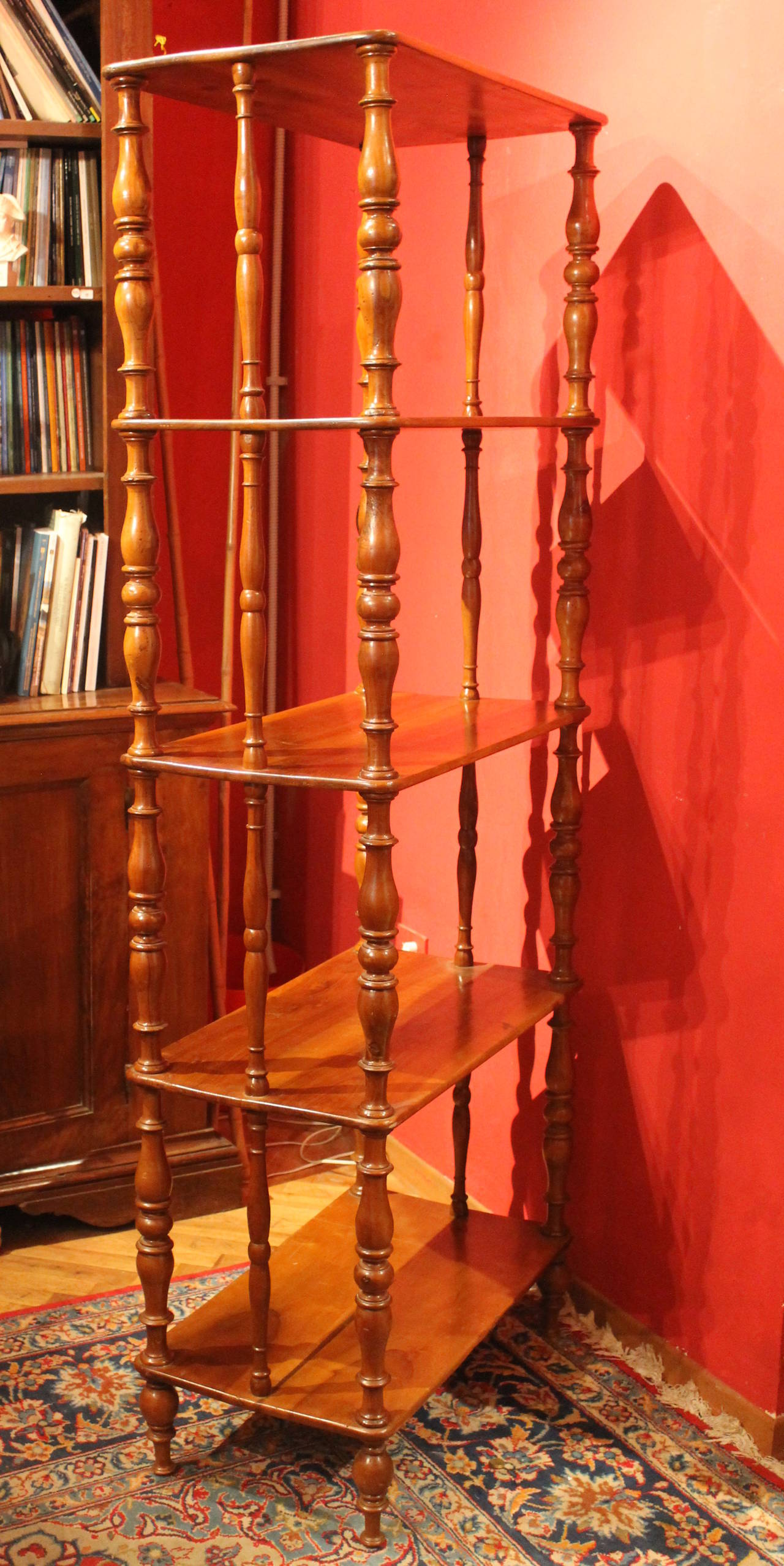 Italian 19th Century Rustic Walnut Wood Étagère or Bookcase In Excellent Condition For Sale In Firenze, IT