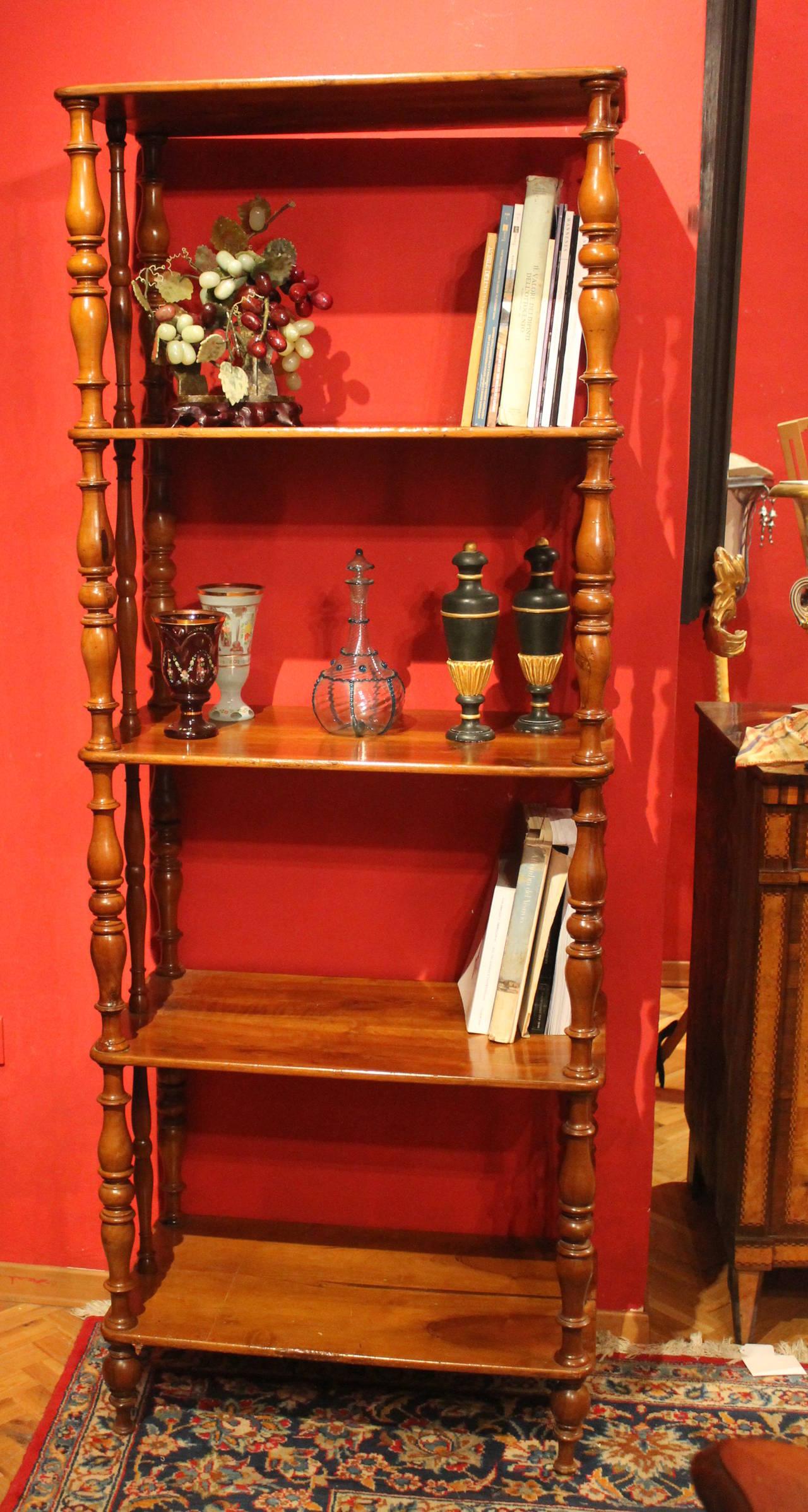 Italian 19th Century Walnut Wood Étagère or Bookcase 7