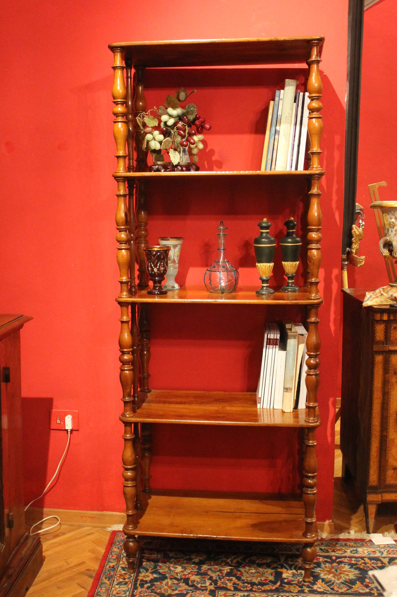Italian 19th Century Rustic Walnut Wood Étagère or Bookcase For Sale 4