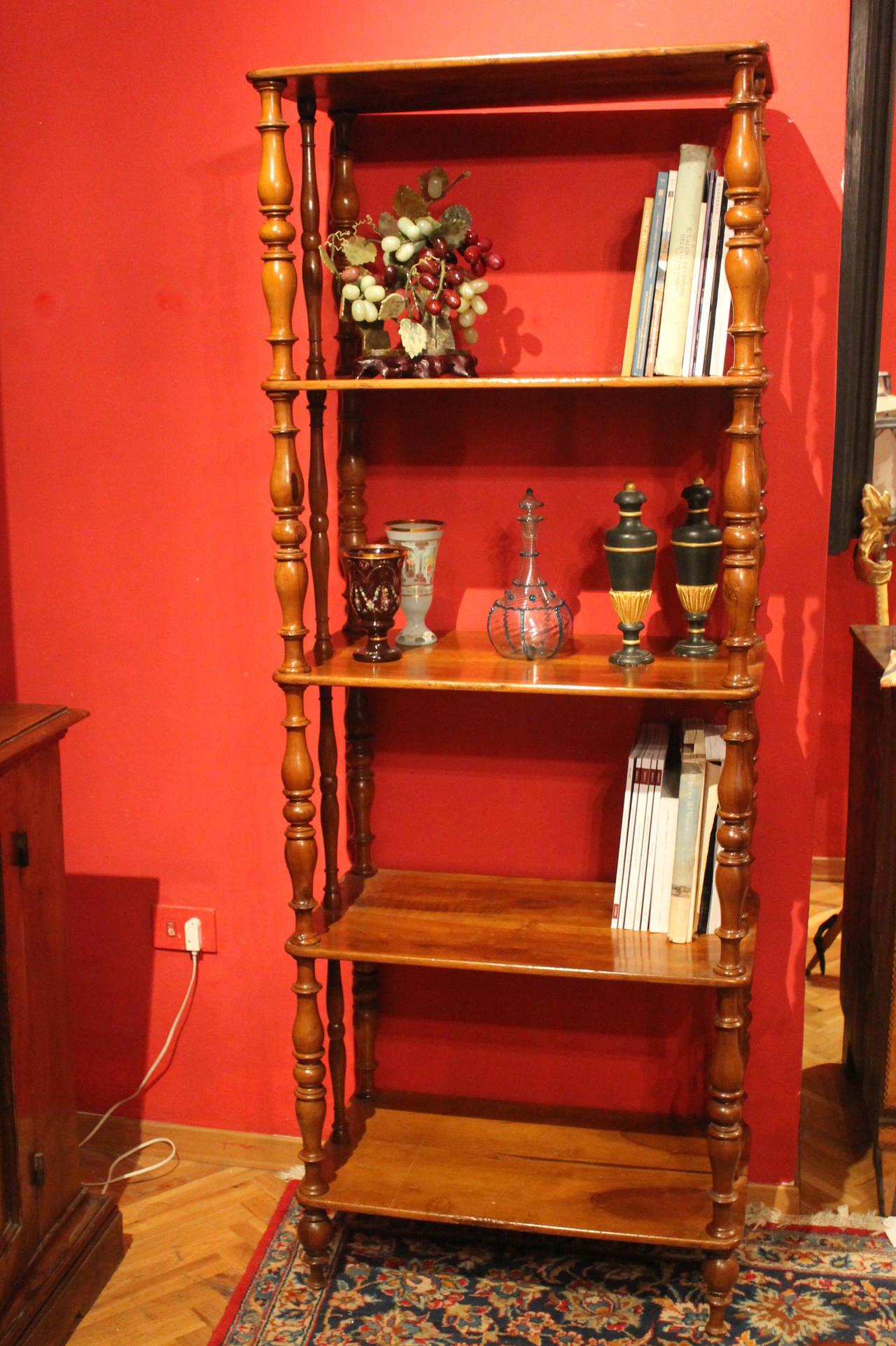 Italian 19th Century Walnut Wood Étagère or Bookcase 9