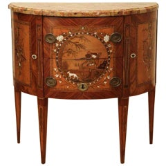 French Louis XVI Demi Lune Chest with Pearwood, Amaranth, Mother-of-pearl, Ivory