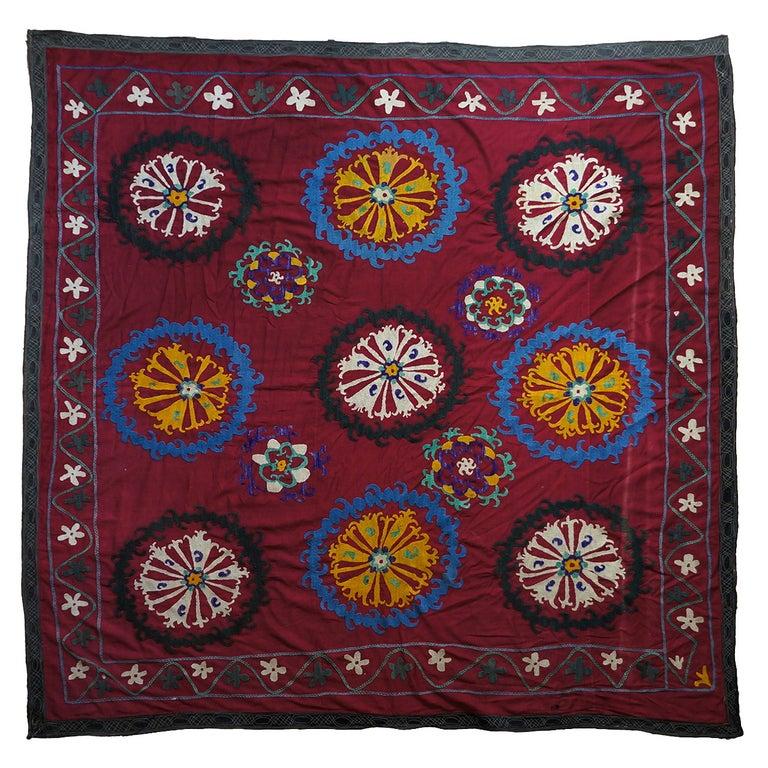 Large Vintage Uzbek Suzani Needlework Textile Blanket or Tapestry For Sale