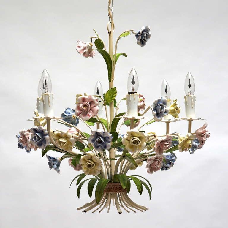 Beautiful Italian Porcelain Chandelier at 1stdibs