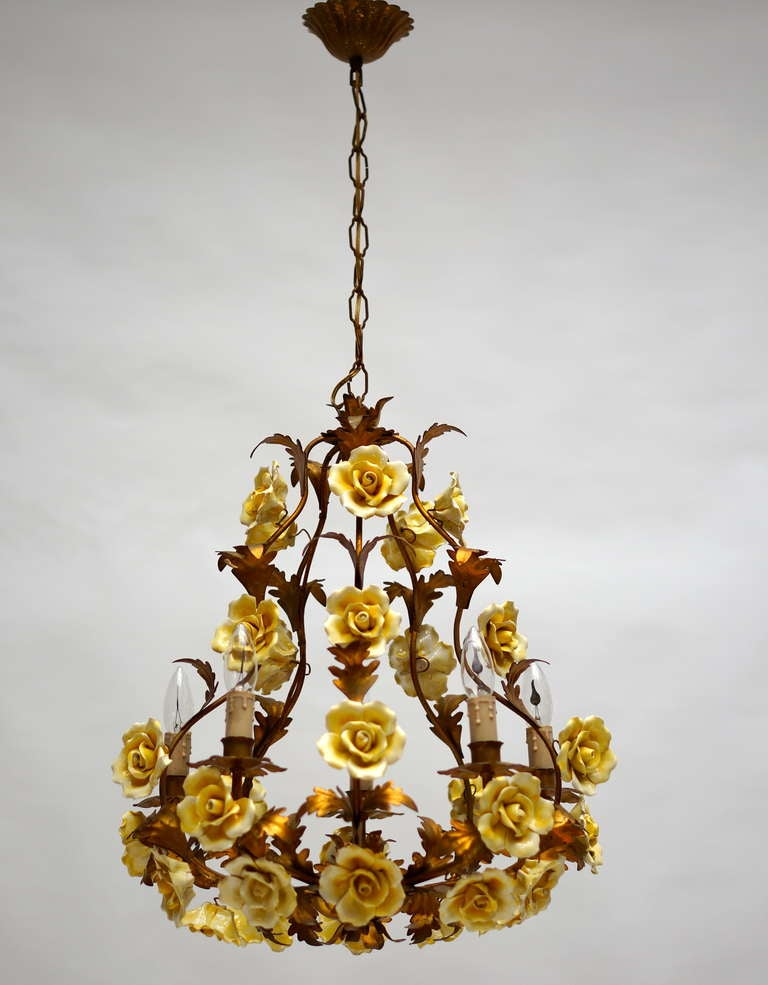 Beautiful Gilt Metal and Porcelain Chandelier For Sale at
