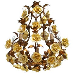 Beautiful Gilt Metal and Porcelain Chandelier