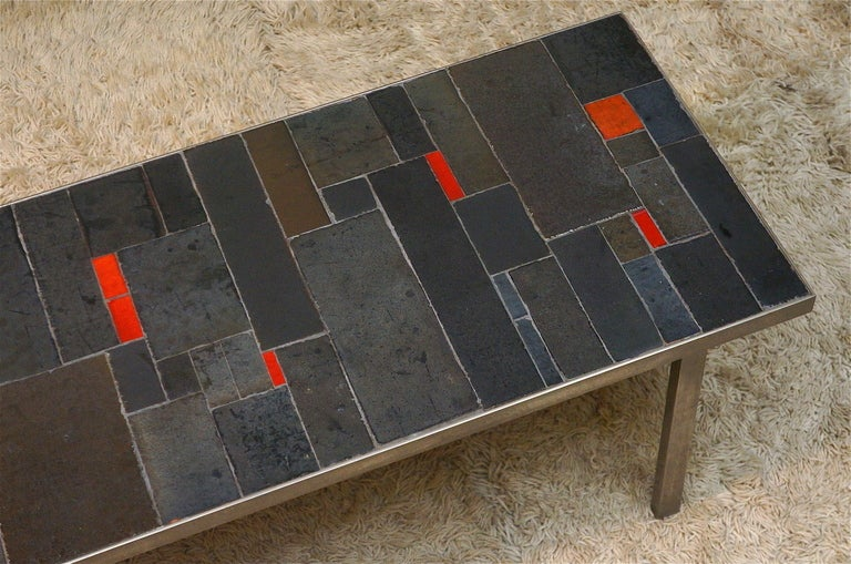 Mid-Century Modern Belgium Tile Top Coffee Table by Pia Manu For Sale
