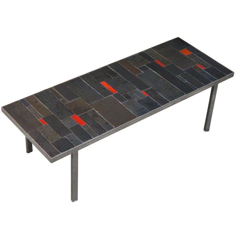Belgium Tile Top Coffee Table by Pia Manu For Sale
