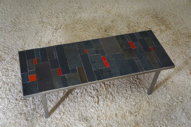 Belgium Tile Top Coffee Table by Pia Manu In Good Condition For Sale In Antwerp, BE