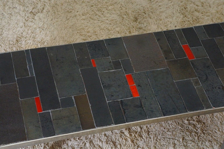 Mid-20th Century Belgium Tile Top Coffee Table by Pia Manu For Sale