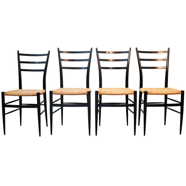 Italian Dining Chairs Chiavari or Ponti Style, 1950s