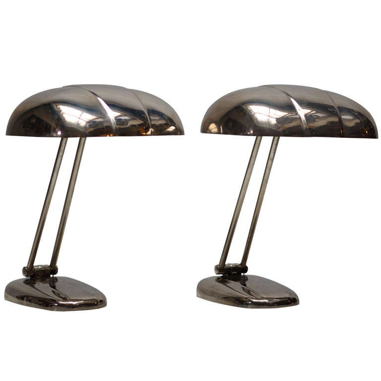 Pair of 1940s, Chrome-Plated Desk or Table Lights