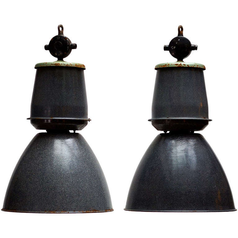 Set of Eight Giant Industrial Lights