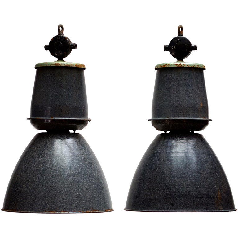 One of Eight Giant Industrial Lights For Sale