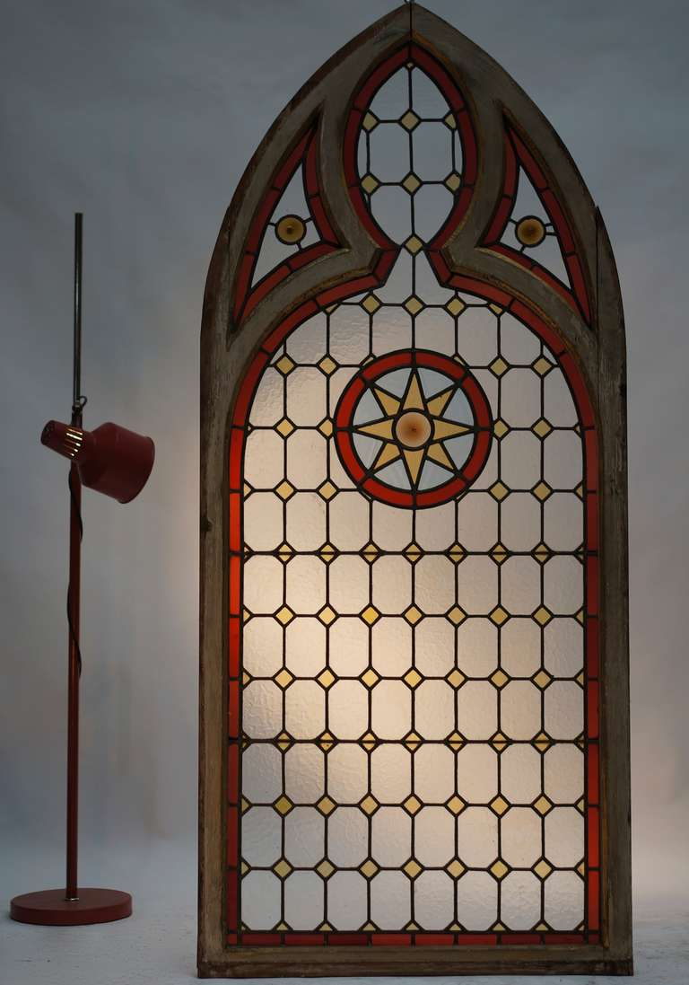 Neo Gothic Stained Glass Window At 1stdibs