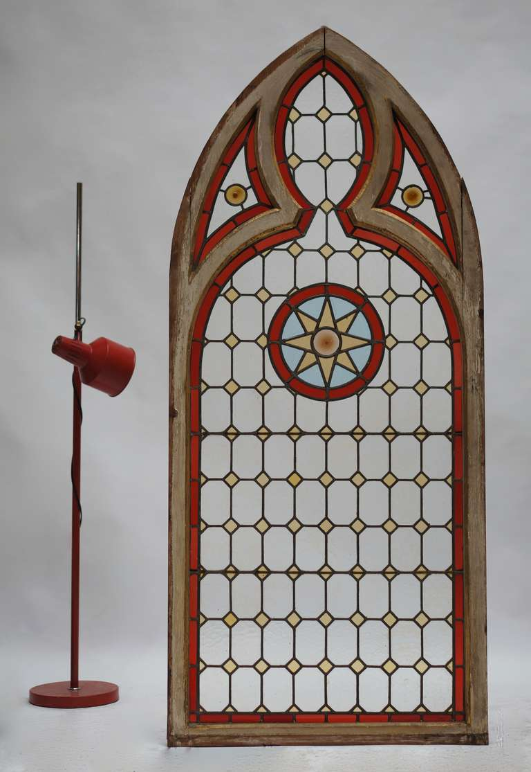 Neoclassical Revival Neo Gothic Stained Glass Window For Sale