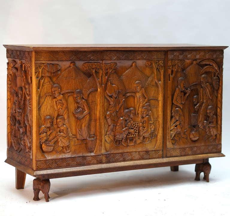 Folk Art 1950s Carved Wooden Cabinet from Zaïre For Sale