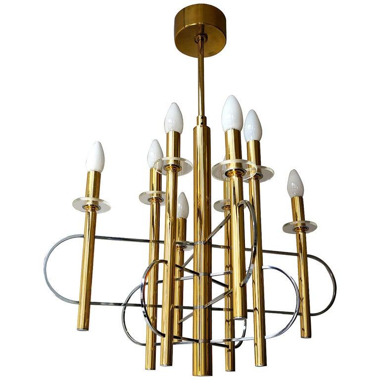 Sciolari Chandelier in Brass For Sale