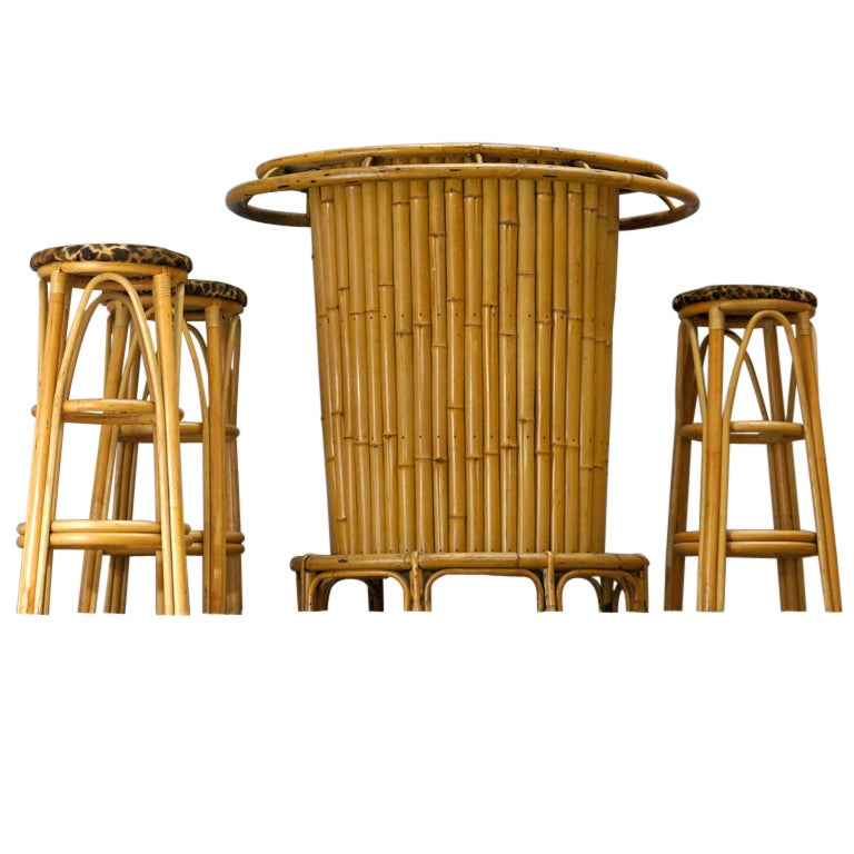 French 1950s Bamboo Bar With 3 Stools At 1stdibs