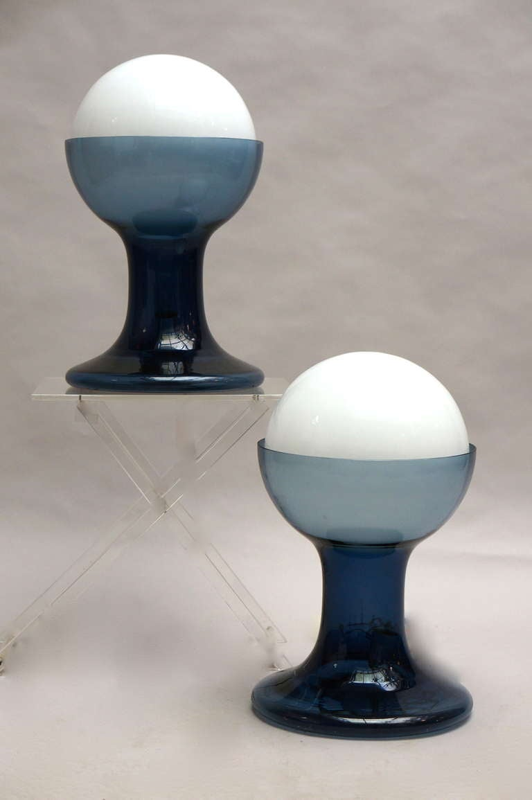 Glass Murano Table Lamps by A.V. Mazzega For Sale