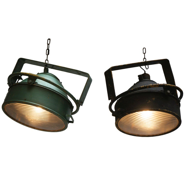 Pair of Industrial Pendant Lights For Sale